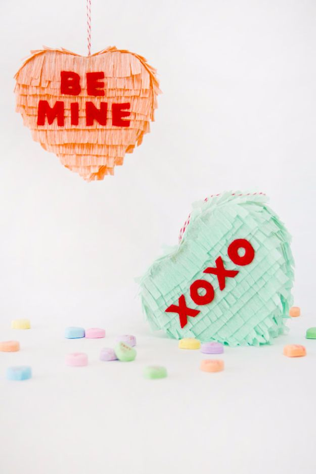 Cheap DIY Valentine's Day Gift Ideas - DIY Conversation Heart Piñatas - Make These Easy and Inexpensive Crafts and Valentine Projects - Cute Dollar Store Ideas, Tutorials for Making Jars, Gift Boxes, Pink Red and Heart Shaped Decor - Creative Ways To Say I Love You to Your BFF, Boyfriend, Girlfriend, Husband, Wife and Kids #diyideas #valentines #cheapgifts #valentinesgifts #valentinesday