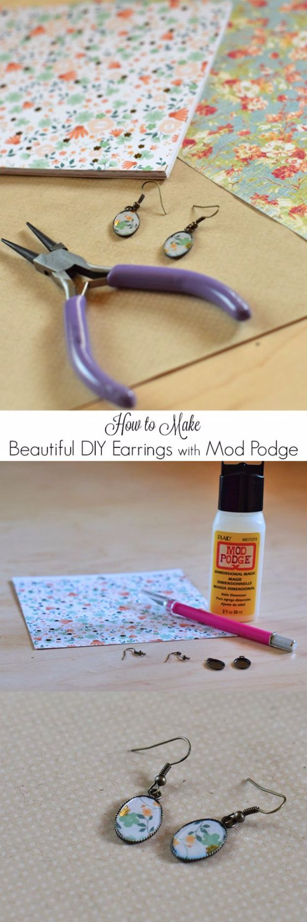 Mod Podge Crafts - DIY Earrings With Mod Podge - DIY Modge Podge Ideas On Wood, Glass, Canvases, Fabric, Paper and Mason Jars - How To Make Pictures, Home Decor, Easy Craft Ideas and DIY Wall Art for Beginners - Cute, Cheap Crafty Homemade Gifts for Christmas and Birthday Presents http://diyjoy.com/mod-podge-crafts
