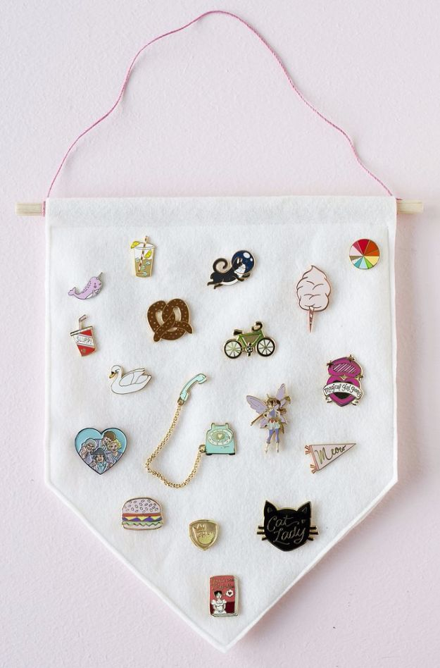 Crafts for Teens to Make and Sell - DIY Enamel Pin Banner - Cheap and Easy DIY Ideas To Make For Extra Money - Best Things to Sell On Etsy, Dollar Store Craft Ideas, Quick Projects for Teenagers To Make Spending Cash - DIY Gifts, Wall Art, School Supplies, Room Decor, Jewelry, Fashion, Hair Accessories, Bracelets, Magnets #teencrafts #craftstosell #etsyideass