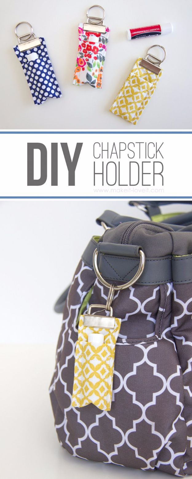 Crafts for Teens to Make and Sell - DIY Fabric Chapstick Holder - Cheap and Easy DIY Ideas To Make For Extra Money - Best Things to Sell On Etsy, Dollar Store Craft Ideas, Quick Projects for Teenagers To Make Spending Cash - DIY Gifts, Wall Art, School Supplies, Room Decor, Jewelry, Fashion, Hair Accessories, Bracelets, Magnets http://diyprojectsforteens.com/crafts-to-sell-teens