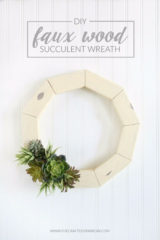 Cheap DIY Gifts and Inexpensive Homemade Christmas Gift Ideas for People on A Budget - DIY Faux Wood Succulent Wreath - To Make These Cool Presents Instead of Buying for the Holidays - Easy and Low Cost Gifts fTo Make For Friends and Neighbors - Quick Dollar Store Crafts and Projects for Xmas Gift Giving Parties - Step by Step Tutorials and Instructions #diygifts #teencrafts #diyideas #crafts #christmasgifts #cheapgifts