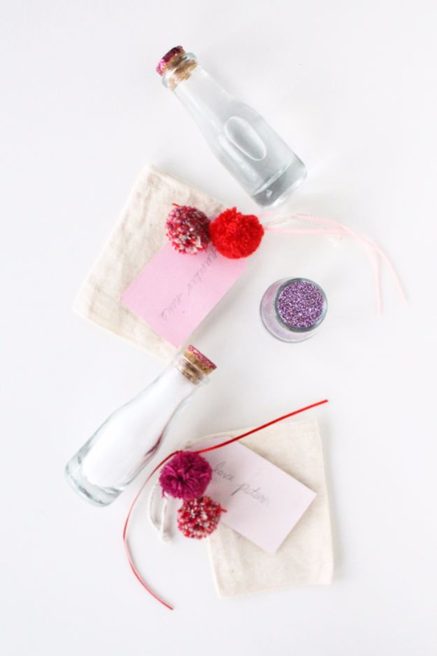 Cheap DIY Valentine's Day Gift Ideas - DIY Love Potion Bath Sets - Make These Easy and Inexpensive Crafts and Valentine Projects - Cute Dollar Store Ideas, Tutorials for Making Jars, Gift Boxes, Pink Red and Heart Shaped Decor - Creative Ways To Say I Love You to Your BFF, Boyfriend, Girlfriend, Husband, Wife and Kids http://diyprojectsforteens.com/cheap-diy-valentines-gifts