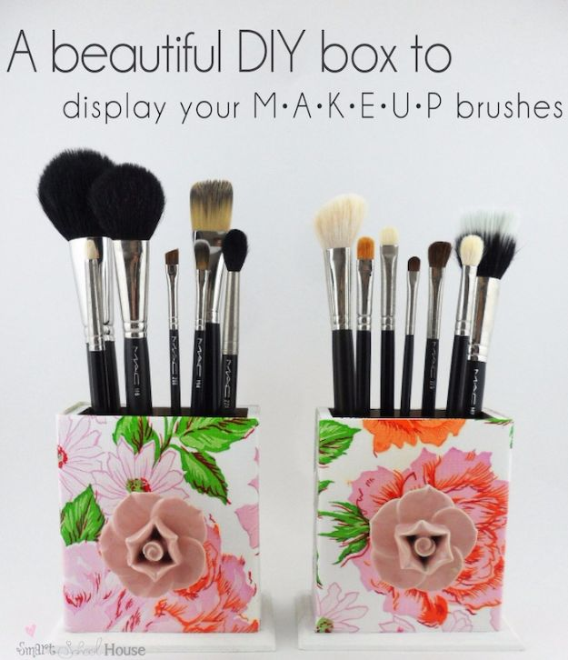 Cheap DIY Gifts and Inexpensive Homemade Christmas Gift Ideas for People on A Budget - DIY Makeup Brush Box - To Make These Cool Presents Instead of Buying for the Holidays - Easy and Low Cost Gifts fTo Make For Friends and Neighbors - Quick Dollar Store Crafts and Projects for Xmas Gift Giving Parties - Step by Step Tutorials and Instructions #diygifts #teencrafts #diyideas #crafts #christmasgifts #cheapgifts