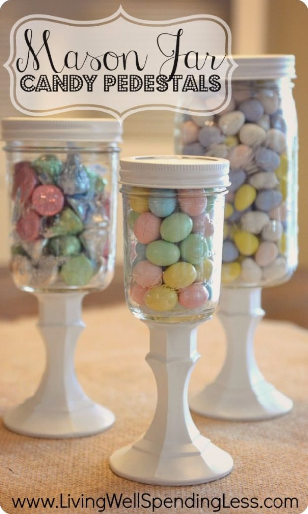 Crafts for Teens to Make and Sell - DIY Mason Jar Candy Pedestals - Cheap and Easy DIY Ideas To Make For Extra Money - Best Things to Sell On Etsy, Dollar Store Craft Ideas, Quick Projects for Teenagers To Make Spending Cash - DIY Gifts, Wall Art, School Supplies, Room Decor, Jewelry, Fashion, Hair Accessories, Bracelets, Magnets http://diyprojectsforteens.com/crafts-to-sell-teens