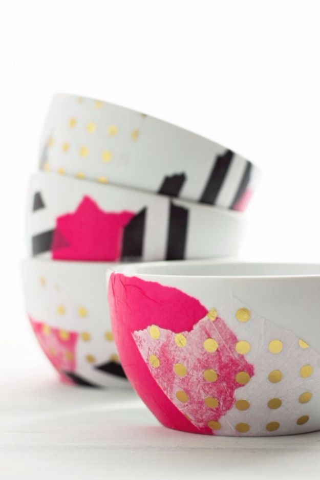 Mod Podge Crafts - DIY Mod Podge Bowls - DIY Modge Podge Ideas On Wood, Glass, Canvases, Fabric, Paper and Mason Jars - How To Make Pictures, Home Decor, Easy Craft Ideas and DIY Wall Art for Beginners - Cute, Cheap Crafty Homemade Gifts for Christmas and Birthday Presents http://diyjoy.com/mod-podge-crafts