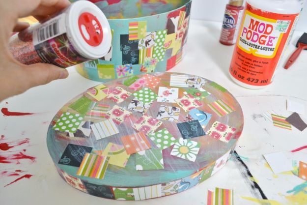 Mod Podge Crafts - DIY Mod Podged Treasure Box - DIY Modge Podge Ideas On Wood, Glass, Canvases, Fabric, Paper and Mason Jars - How To Make Pictures, Home Decor, Easy Craft Ideas and DIY Wall Art for Beginners - Cute, Cheap Crafty Homemade Gifts for Christmas and Birthday Presents http://diyjoy.com/mod-podge-crafts