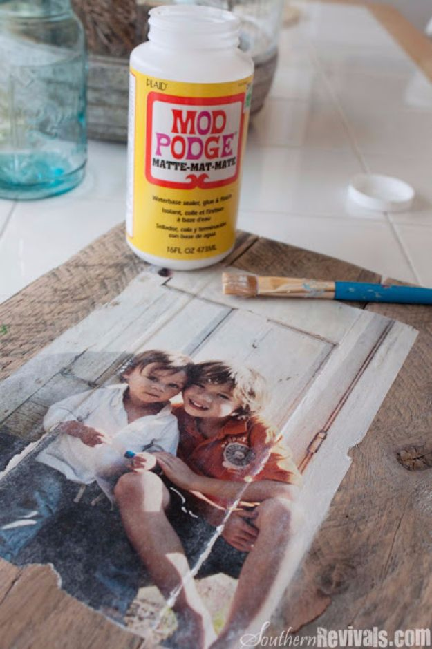 Mod Podge Crafts - DIY Pallet Photo Frames - DIY Modge Podge Ideas On Wood, Glass, Canvases, Fabric, Paper and Mason Jars - How To Make Pictures, Home Decor, Easy Craft Ideas and DIY Wall Art for Beginners - Cute, Cheap Crafty Homemade Gifts for Christmas and Birthday Presents http://diyjoy.com/mod-podge-crafts