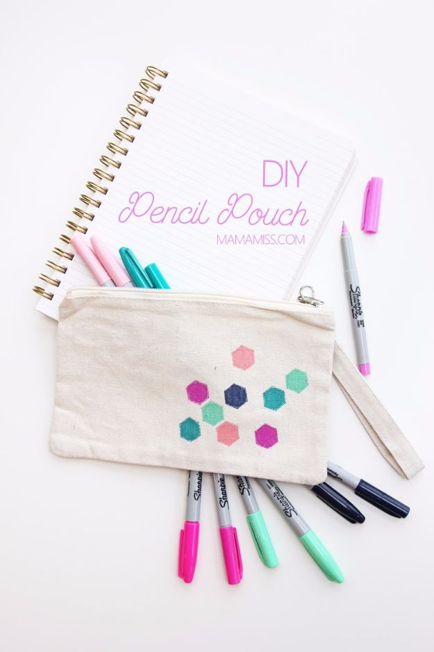 Crafts for Teens to Make and Sell - DIY Pencil Pouch - Cheap and Easy DIY Ideas To Make For Extra Money - Best Things to Sell On Etsy, Dollar Store Craft Ideas, Quick Projects for Teenagers To Make Spending Cash - DIY Gifts, Wall Art, School Supplies, Room Decor, Jewelry, Fashion, Hair Accessories, Bracelets, Magnets #teencrafts #craftstosell #etsyideass