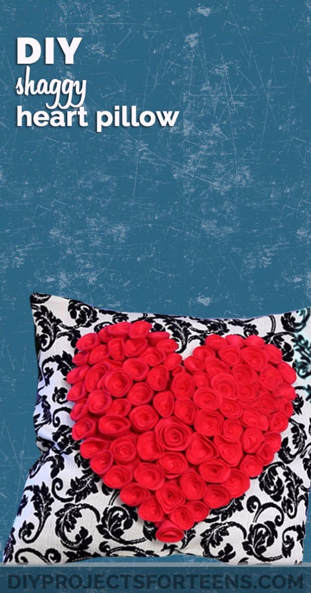 Cheap DIY Valentine's Day Gift Ideas - DIY Shaggy Heart Pillow - Make These Easy and Inexpensive Crafts and Valentine Projects - Cute Dollar Store Ideas, Tutorials for Making Jars, Gift Boxes, Pink Red and Heart Shaped Decor - Creative Ways To Say I Love You to Your BFF, Boyfriend, Girlfriend, Husband, Wife and Kids http://diyprojectsforteens.com/cheap-diy-valentines-gifts
