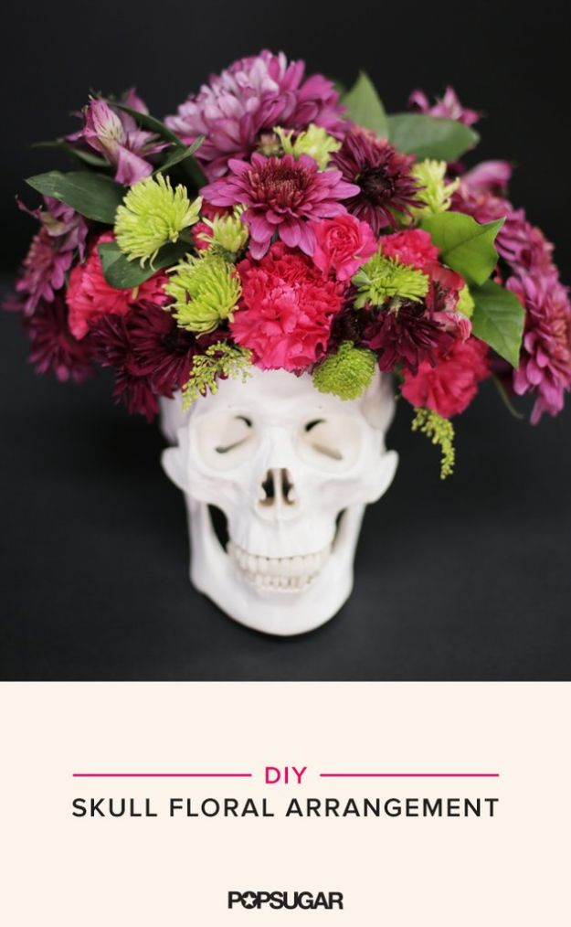 Cheap DIY Gifts and Inexpensive Homemade Christmas Gift Ideas for People on A Budget - DIY Skull Floral Arrangement- To Make These Cool Presents Instead of Buying for the Holidays - Easy and Low Cost Gifts fTo Make For Friends and Neighbors - Quick Dollar Store Crafts and Projects for Xmas Gift Giving Parties - Step by Step Tutorials and Instructions http://diyjoy.com/cheap-gifts-to-make-for-friends