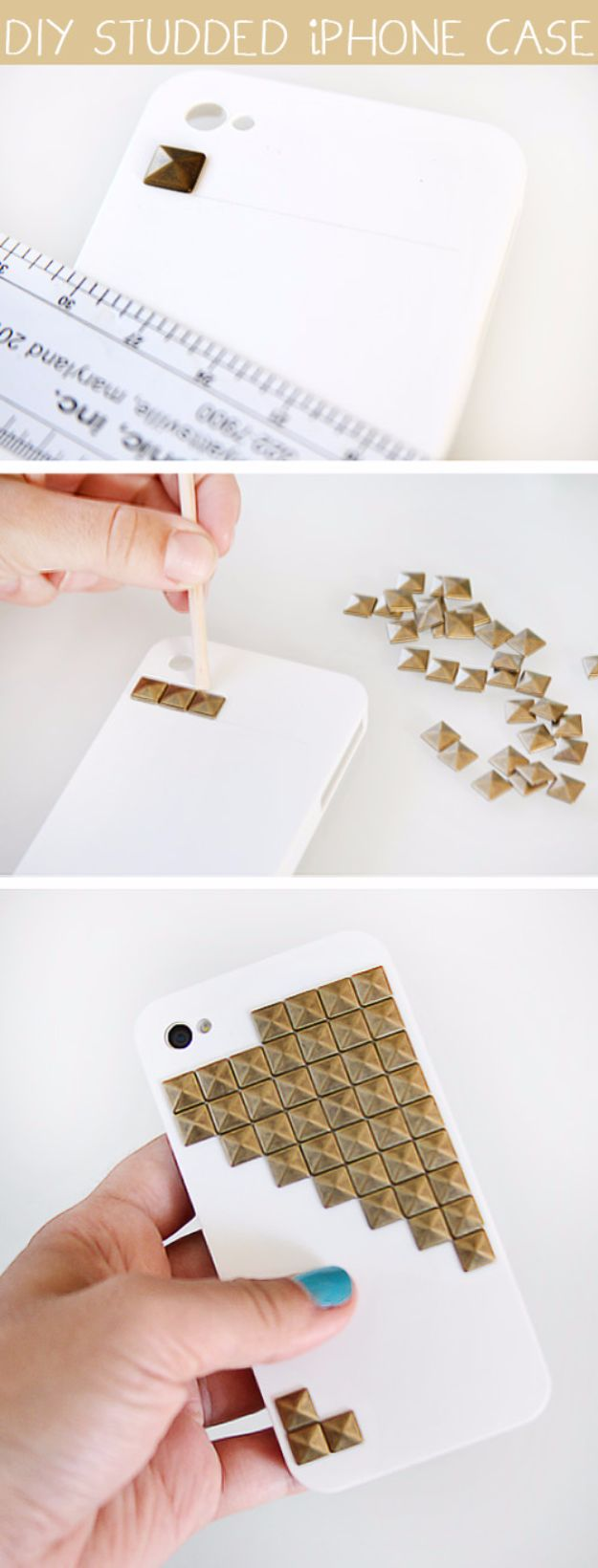 Crafts for Teens to Make and Sell - DIY Studded Iphone Case - Cheap and Easy DIY Ideas To Make For Extra Money - Best Things to Sell On Etsy, Dollar Store Craft Ideas, Quick Projects for Teenagers To Make Spending Cash - DIY Gifts, Wall Art, School Supplies, Room Decor, Jewelry, Fashion, Hair Accessories, Bracelets, Magnets http://diyprojectsforteens.com/crafts-to-sell-teens