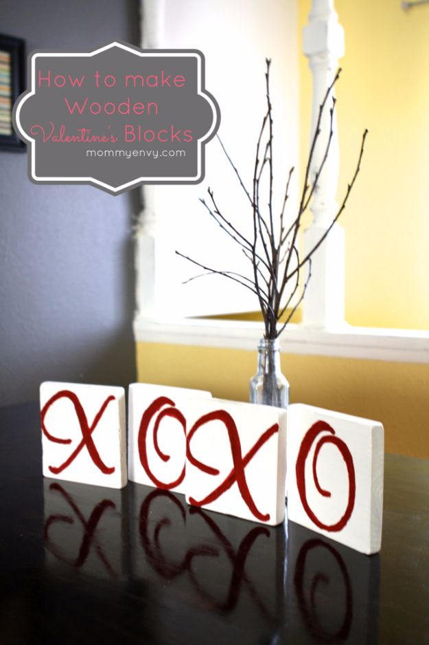 Cheap DIY Valentine's Day Gift Ideas - DIY XOXO Valentine's Blocks - Make These Easy and Inexpensive Crafts and Valentine Projects - Cute Dollar Store Ideas, Tutorials for Making Jars, Gift Boxes, Pink Red and Heart Shaped Decor - Creative Ways To Say I Love You to Your BFF, Boyfriend, Girlfriend, Husband, Wife and Kids http://diyprojectsforteens.com/cheap-diy-valentines-gifts