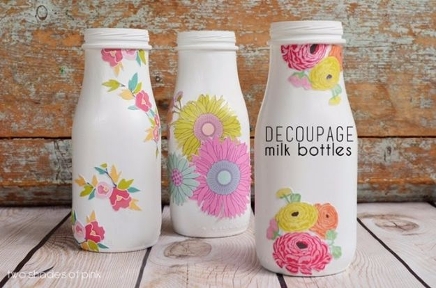 Mod Podge Crafts - Decoupage Milk Bottles - DIY Modge Podge Ideas On Wood, Glass, Canvases, Fabric, Paper and Mason Jars - How To Make Pictures, Home Decor, Easy Craft Ideas and DIY Wall Art for Beginners - Cute, Cheap Crafty Homemade Gifts for Christmas and Birthday Presents http://diyjoy.com/mod-podge-crafts