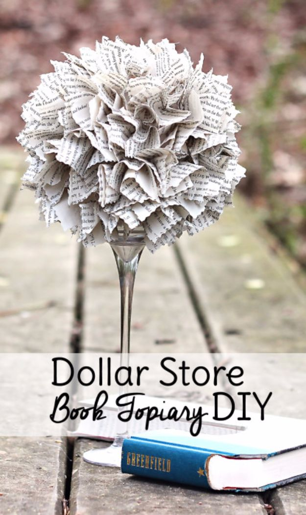 Crafts for Teens to Make and Sell - Dollar Store Book Topiary DIY - Cheap and Easy DIY Ideas To Make For Extra Money - Best Things to Sell On Etsy, Dollar Store Craft Ideas, Quick Projects for Teenagers To Make Spending Cash - DIY Gifts, Wall Art, School Supplies, Room Decor, Jewelry, Fashion, Hair Accessories, Bracelets, Magnets http://diyprojectsforteens.com/crafts-to-sell-teens