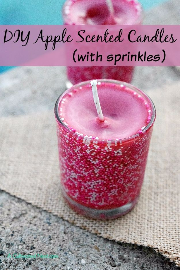 Cheap DIY Gifts and Inexpensive Homemade Christmas Gift Ideas for People on A Budget - Easy Apple Scented Candles with Sprinkles - To Make These Cool Presents Instead of Buying for the Holidays - Easy and Low Cost Gifts fTo Make For Friends and Neighbors - Quick Dollar Store Crafts and Projects for Xmas Gift Giving Parties - Step by Step Tutorials and Instructions #diygifts #teencrafts #diyideas #crafts #christmasgifts #cheapgifts