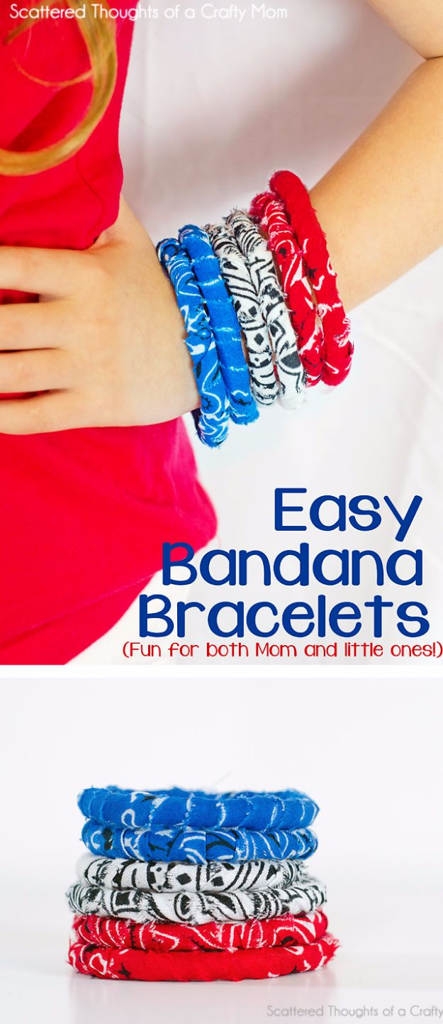 Crafts for Teens to Make and Sell - Easy Bandana Bracelets - Cheap and Easy DIY Ideas To Make For Extra Money - Best Things to Sell On Etsy, Dollar Store Craft Ideas, Quick Projects for Teenagers To Make Spending Cash - DIY Gifts, Wall Art, School Supplies, Room Decor, Jewelry, Fashion, Hair Accessories, Bracelets, Magnets #teencrafts #craftstosell #etsyideass