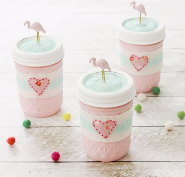 Crafts for Teens to Make and Sell - Easy DIY Flamingo Mason Jars - Cheap and Easy DIY Ideas To Make For Extra Money - Best Things to Sell On Etsy, Dollar Store Craft Ideas, Quick Projects for Teenagers To Make Spending Cash - DIY Gifts, Wall Art, School Supplies, Room Decor, Jewelry, Fashion, Hair Accessories, Bracelets, Magnets #teencrafts #craftstosell #etsyideass
