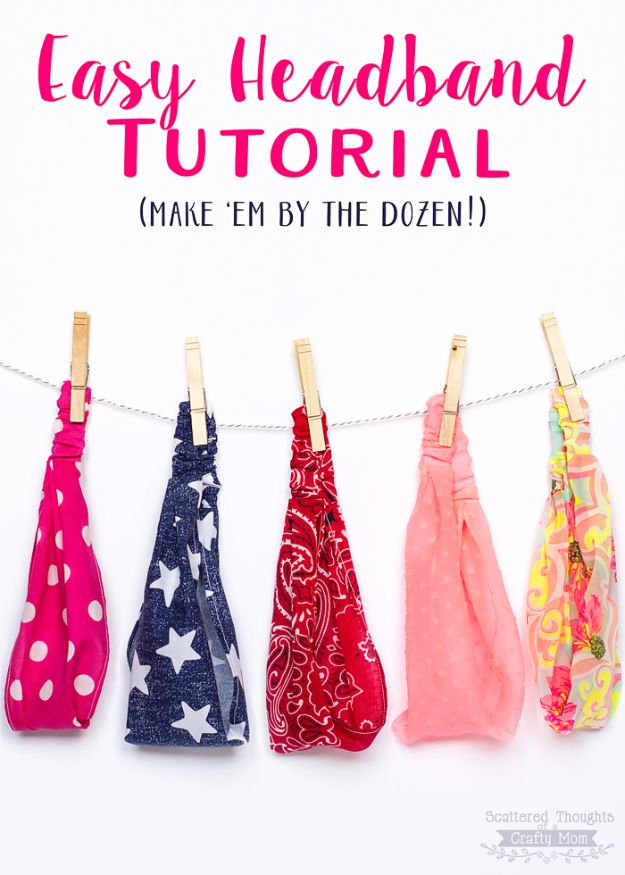 Crafts for Teens to Make and Sell - Easy Elastic Headband - Cheap and Easy DIY Ideas To Make For Extra Money - Best Things to Sell On Etsy, Dollar Store Craft Ideas, Quick Projects for Teenagers To Make Spending Cash - DIY Gifts, Wall Art, School Supplies, Room Decor, Jewelry, Fashion, Hair Accessories, Bracelets, Magnets #teencrafts #craftstosell #etsyideass