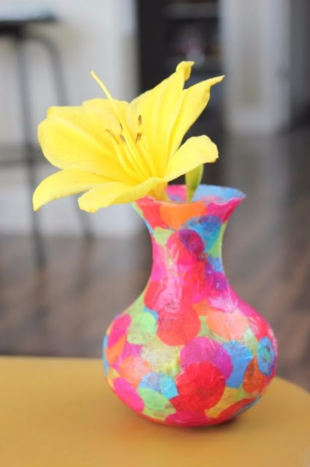Mod Podge Crafts - Easy Mod Podge Confetti Vase - DIY Modge Podge Ideas On Wood, Glass, Canvases, Fabric, Paper and Mason Jars - How To Make Pictures, Home Decor, Easy Craft Ideas and DIY Wall Art for Beginners - Cute, Cheap Crafty Homemade Gifts for Christmas and Birthday Presents http://diyjoy.com/mod-podge-crafts