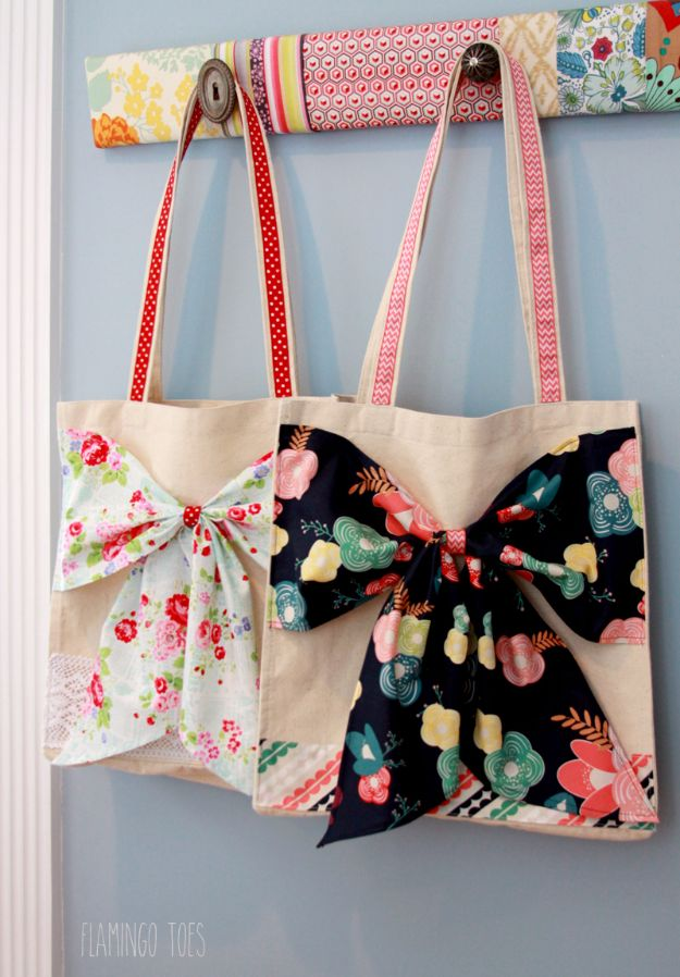 Crafts for Teens to Make and Sell - Fabric And Lace Bow Tote - Cheap and Easy DIY Ideas To Make For Extra Money - Best Things to Sell On Etsy, Dollar Store Craft Ideas, Quick Projects for Teenagers To Make Spending Cash - DIY Gifts, Wall Art, School Supplies, Room Decor, Jewelry, Fashion, Hair Accessories, Bracelets, Magnets #teencrafts #craftstosell #etsyideass