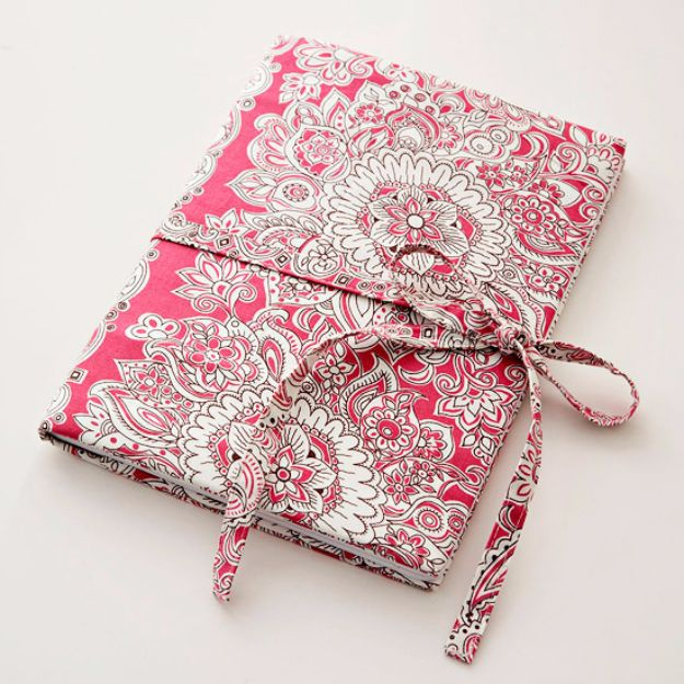 Crafts for Teens to Make and Sell - Fabric Covered Journal - Cheap and Easy DIY Ideas To Make For Extra Money - Best Things to Sell On Etsy, Dollar Store Craft Ideas, Quick Projects for Teenagers To Make Spending Cash - DIY Gifts, Wall Art, School Supplies, Room Decor, Jewelry, Fashion, Hair Accessories, Bracelets, Magnets http://diyprojectsforteens.com/crafts-to-sell-teens