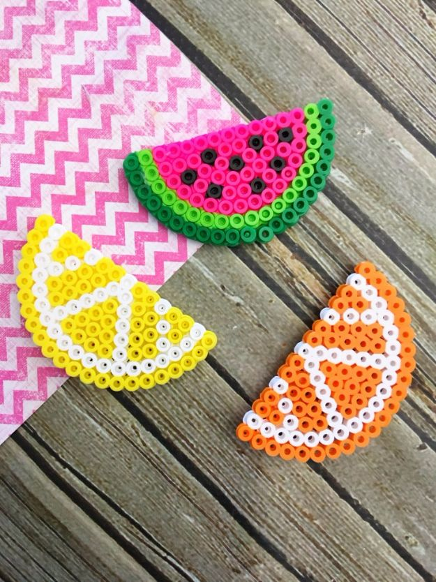 Crafts for Teens to Make and Sell - Fruit Perler Bead Magnets - Cheap and Easy DIY Ideas To Make For Extra Money - Best Things to Sell On Etsy, Dollar Store Craft Ideas, Quick Projects for Teenagers To Make Spending Cash - DIY Gifts, Wall Art, School Supplies, Room Decor, Jewelry, Fashion, Hair Accessories, Bracelets, Magnets http://diyprojectsforteens.com/crafts-to-sell-teens