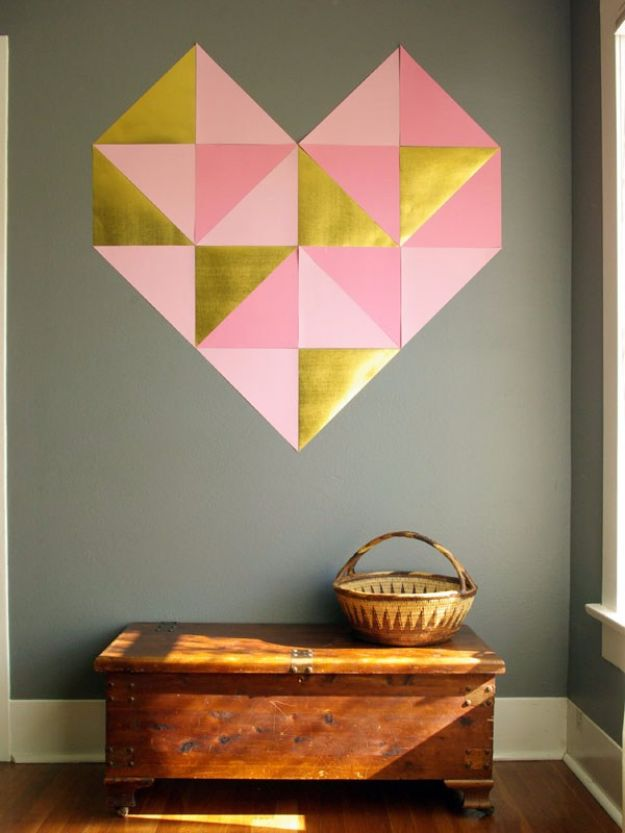 Cheap DIY Valentine's Day Gift Ideas - Giant Geometric Wall Heart - Make These Easy and Inexpensive Crafts and Valentine Projects - Cute Dollar Store Ideas, Tutorials for Making Jars, Gift Boxes, Pink Red and Heart Shaped Decor - Creative Ways To Say I Love You to Your BFF, Boyfriend, Girlfriend, Husband, Wife and Kids http://diyprojectsforteens.com/cheap-diy-valentines-gifts