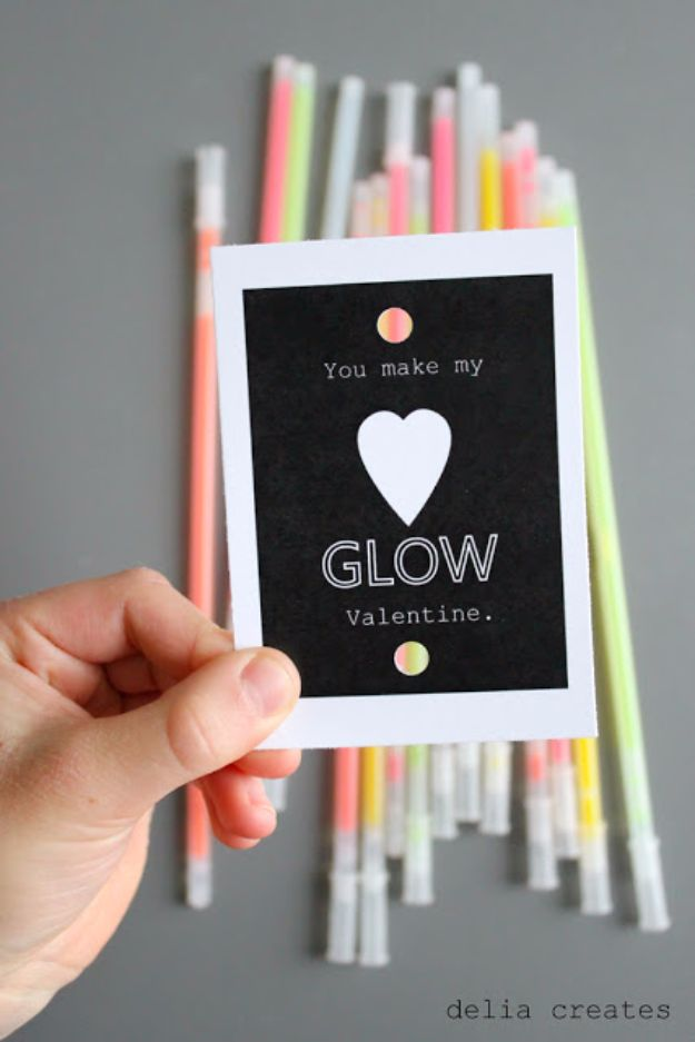 Cheap DIY Valentine's Day Gift Ideas - Glow Stick Valentines - Make These Easy and Inexpensive Crafts and Valentine Projects - Cute Dollar Store Ideas, Tutorials for Making Jars, Gift Boxes, Pink Red and Heart Shaped Decor - Creative Ways To Say I Love You to Your BFF, Boyfriend, Girlfriend, Husband, Wife and Kids http://diyprojectsforteens.com/cheap-diy-valentines-gifts