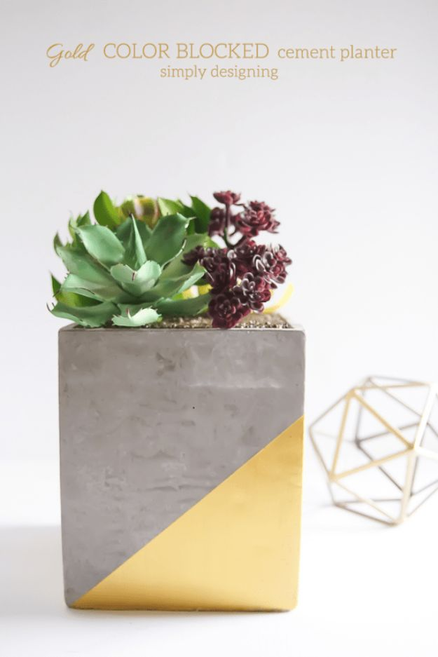 Cheap DIY Gifts and Inexpensive Homemade Christmas Gift Ideas for People on A Budget - Gold Color Blocked Cement Planter - To Make These Cool Presents Instead of Buying for the Holidays - Easy and Low Cost Gifts fTo Make For Friends and Neighbors - Quick Dollar Store Crafts and Projects for Xmas Gift Giving Parties - Step by Step Tutorials and Instructions #diygifts #teencrafts #diyideas #crafts #christmasgifts #cheapgifts