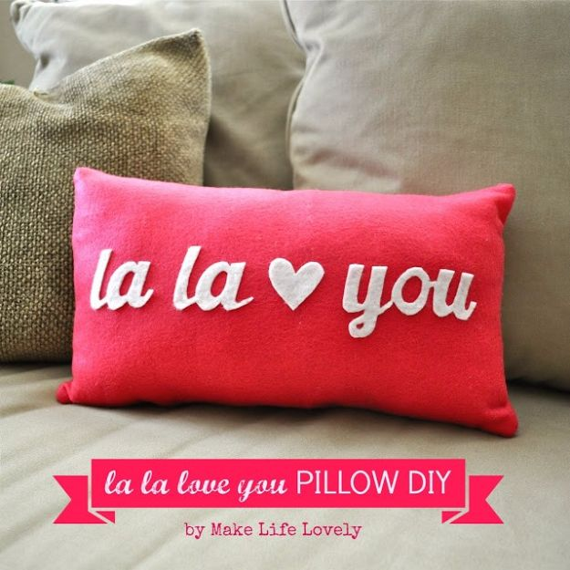 Cheap DIY Valentine's Day Gift Ideas - La La Love You Valentine Pillow - Make These Easy and Inexpensive Crafts and Valentine Projects - Cute Dollar Store Ideas, Tutorials for Making Jars, Gift Boxes, Pink Red and Heart Shaped Decor - Creative Ways To Say I Love You to Your BFF, Boyfriend, Girlfriend, Husband, Wife and Kids #diyideas #valentines #cheapgifts #valentinesgifts #valentinesday
