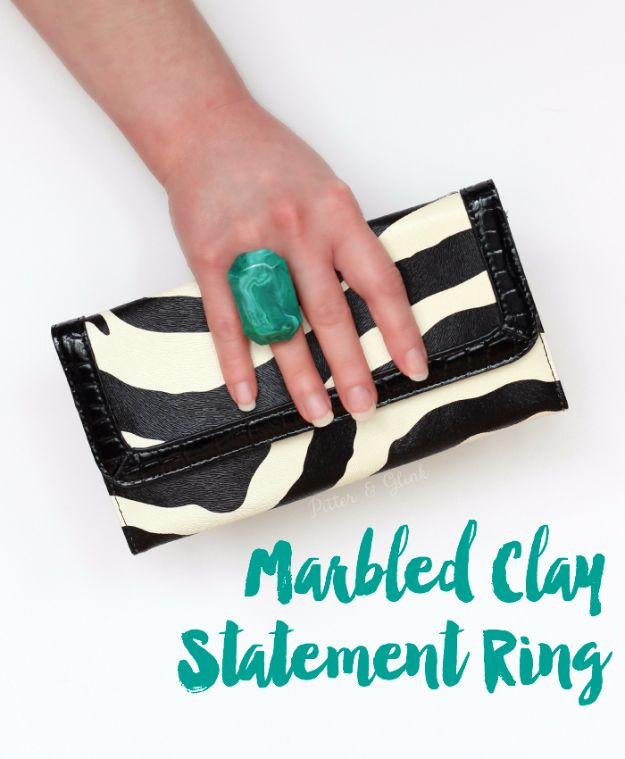 Cheap DIY Gifts and Inexpensive Homemade Christmas Gift Ideas for People on A Budget - Marbled Polymer Clay Statement Ring - To Make These Cool Presents Instead of Buying for the Holidays - Easy and Low Cost Gifts fTo Make For Friends and Neighbors - Quick Dollar Store Crafts and Projects for Xmas Gift Giving Parties - Step by Step Tutorials and Instructions #diygifts #teencrafts #diyideas #crafts #christmasgifts #cheapgifts