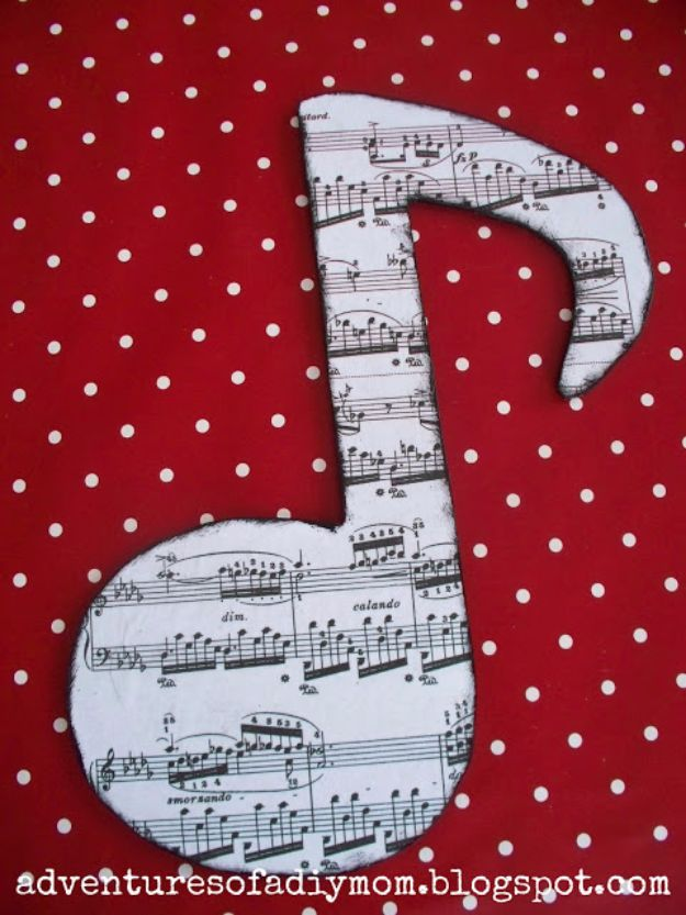 Mod Podge Crafts - Mod Podge Wooden Music Notes - DIY Modge Podge Ideas On Wood, Glass, Canvases, Fabric, Paper and Mason Jars - How To Make Pictures, Home Decor, Easy Craft Ideas and DIY Wall Art for Beginners - Cute, Cheap Crafty Homemade Gifts for Christmas and Birthday Presents http://diyjoy.com/mod-podge-crafts