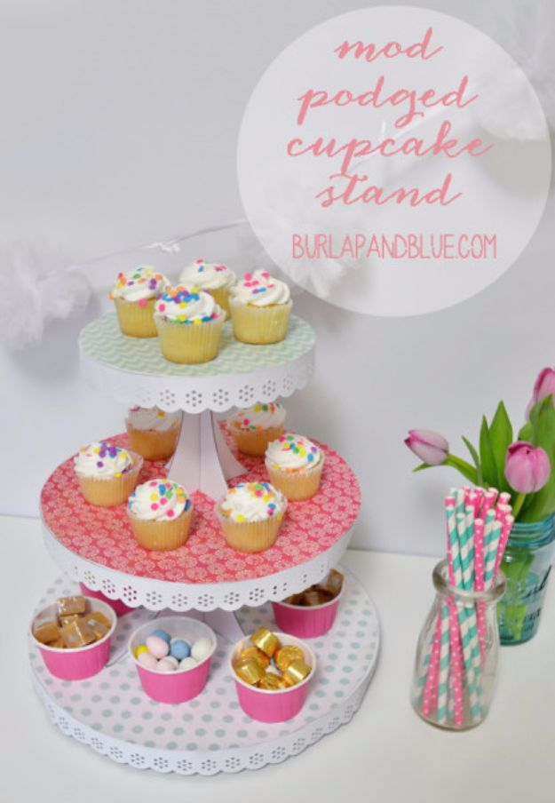 Mod Podge Crafts - Mod Podged Cake Stand - DIY Modge Podge Ideas On Wood, Glass, Canvases, Fabric, Paper and Mason Jars - How To Make Pictures, Home Decor, Easy Craft Ideas and DIY Wall Art for Beginners - Cute, Cheap Crafty Homemade Gifts for Christmas and Birthday Presents http://diyjoy.com/mod-podge-crafts