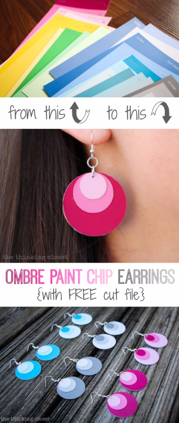 Cheap DIY Gifts and Inexpensive Homemade Christmas Gift Ideas for People on A Budget - Ombre Paint Chip Earrings - To Make These Cool Presents Instead of Buying for the Holidays - Easy and Low Cost Gifts fTo Make For Friends and Neighbors - Quick Dollar Store Crafts and Projects for Xmas Gift Giving Parties - Step by Step Tutorials and Instructions #diygifts #teencrafts #diyideas #crafts #christmasgifts #cheapgifts