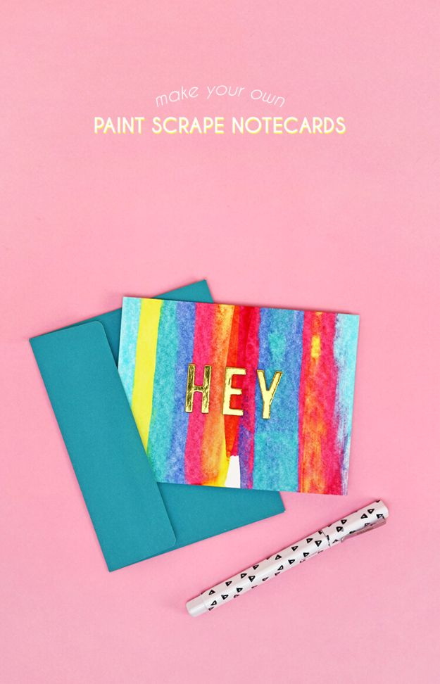 Crafts for Teens to Make and Sell - Paint Scrape Notecards - Cheap and Easy DIY Ideas To Make For Extra Money - Best Things to Sell On Etsy, Dollar Store Craft Ideas, Quick Projects for Teenagers To Make Spending Cash - DIY Gifts, Wall Art, School Supplies, Room Decor, Jewelry, Fashion, Hair Accessories, Bracelets, Magnets http://diyprojectsforteens.com/crafts-to-sell-teens