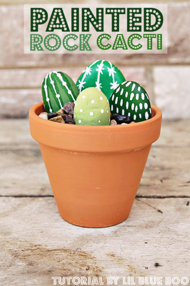 Crafts for Teens to Make and Sell - Painted Rock Cacti - Cheap and Easy DIY Ideas To Make For Extra Money - Best Things to Sell On Etsy, Dollar Store Craft Ideas, Quick Projects for Teenagers To Make Spending Cash - DIY Gifts, Wall Art, School Supplies, Room Decor, Jewelry, Fashion, Hair Accessories, Bracelets, Magnets http://diyprojectsforteens.com/crafts-to-sell-teens