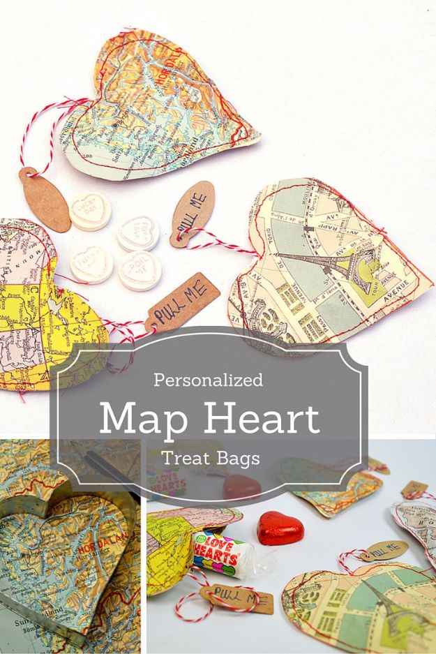 Cheap DIY Valentine's Day Gift Ideas - Personalized Map Heart Treat Bags - Make These Easy and Inexpensive Crafts and Valentine Projects - Cute Dollar Store Ideas, Tutorials for Making Jars, Gift Boxes, Pink Red and Heart Shaped Decor - Creative Ways To Say I Love You to Your BFF, Boyfriend, Girlfriend, Husband, Wife and Kids http://diyprojectsforteens.com/cheap-diy-valentines-gifts