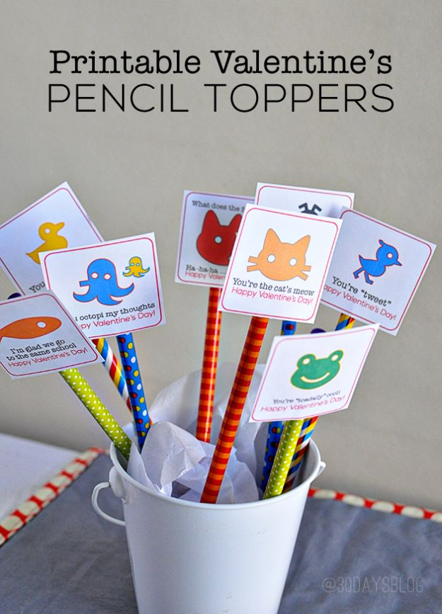 Cheap DIY Valentine's Day Gift Ideas - Printable Pencil Toppers for Valentine's Day - Make These Easy and Inexpensive Crafts and Valentine Projects - Cute Dollar Store Ideas, Tutorials for Making Jars, Gift Boxes, Pink Red and Heart Shaped Decor - Creative Ways To Say I Love You to Your BFF, Boyfriend, Girlfriend, Husband, Wife and Kids http://diyprojectsforteens.com/cheap-diy-valentines-gifts
