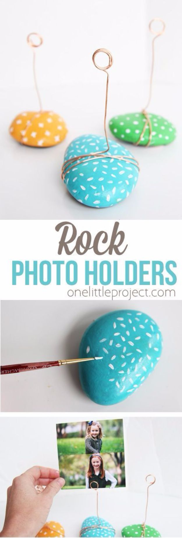 Crafts for Teens to Make and Sell - DIY Rock Photo Holder - Cheap and Easy DIY Ideas To Make For Extra Money - Best Things to Sell On Etsy, Dollar Store Craft Ideas, Quick Projects for Teenagers To Make Spending Cash - DIY Gifts, Wall Art, School Supplies, Room Decor, Jewelry, Fashion, Hair Accessories, Bracelets, Magnets #teencrafts #craftstosell #etsyideass