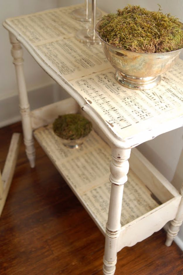 Mod Podge Crafts - Sheet Music Side Table - DIY Modge Podge Ideas On Wood, Glass, Canvases, Fabric, Paper and Mason Jars - How To Make Pictures, Home Decor, Easy Craft Ideas and DIY Wall Art for Beginners - Cute, Cheap Crafty Homemade Gifts for Christmas and Birthday Presents http://diyjoy.com/mod-podge-crafts