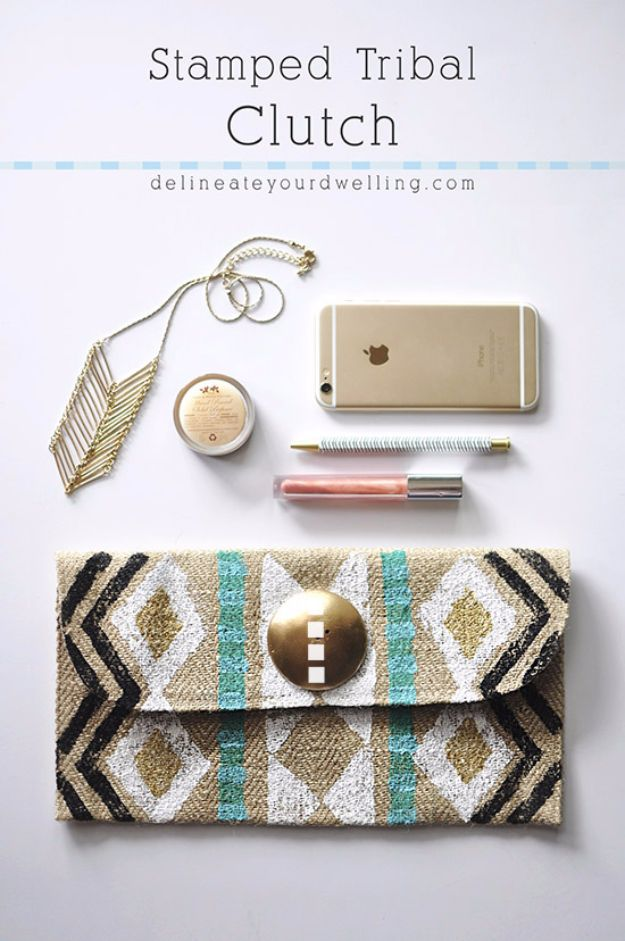Crafts for Teens to Make and Sell - Stamped Tribal Clutch - Cheap and Easy DIY Ideas To Make For Extra Money - Best Things to Sell On Etsy, Dollar Store Craft Ideas, Quick Projects for Teenagers To Make Spending Cash - DIY Gifts, Wall Art, School Supplies, Room Decor, Jewelry, Fashion, Hair Accessories, Bracelets, Magnets #teencrafts #craftstosell #etsyideass