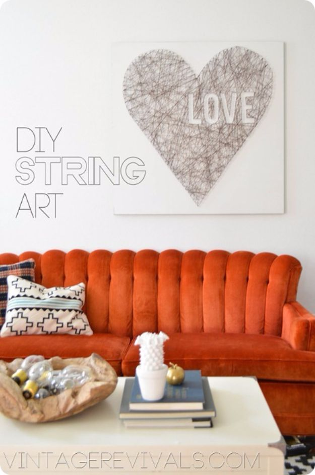 Cheap DIY Valentine's Day Gift Ideas - String Art Love - Make These Easy and Inexpensive Crafts and Valentine Projects - Cute Dollar Store Ideas, Tutorials for Making Jars, Gift Boxes, Pink Red and Heart Shaped Decor - Creative Ways To Say I Love You to Your BFF, Boyfriend, Girlfriend, Husband, Wife and Kids http://diyprojectsforteens.com/cheap-diy-valentines-gifts