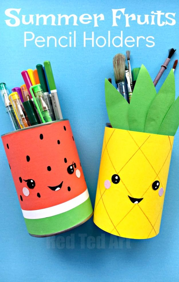 Crafts for Teens to Make and Sell - Summer Pencil Holders - Cheap and Easy DIY Ideas To Make For Extra Money - Best Things to Sell On Etsy, Dollar Store Craft Ideas, Quick Projects for Teenagers To Make Spending Cash - DIY Gifts, Wall Art, School Supplies, Room Decor, Jewelry, Fashion, Hair Accessories, Bracelets, Magnets #teencrafts #craftstosell #etsyideass