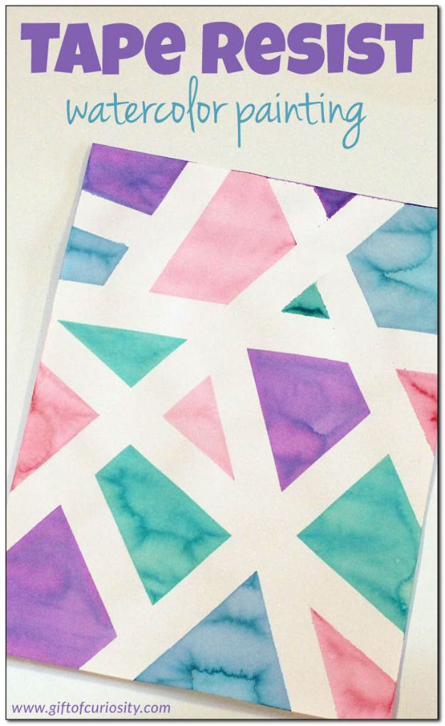 Crafts for Teens to Make and Sell - Tape Resist Watercolor Painting - Cheap and Easy DIY Ideas To Make For Extra Money - Best Things to Sell On Etsy, Dollar Store Craft Ideas, Quick Projects for Teenagers To Make Spending Cash - DIY Gifts, Wall Art, School Supplies, Room Decor, Jewelry, Fashion, Hair Accessories, Bracelets, Magnets http://diyprojectsforteens.com/crafts-to-sell-teens