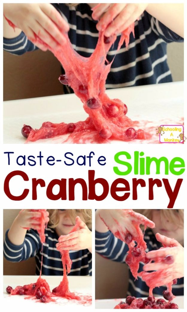 Borax Free Slime Recipes - Taste-Safe Cranberry Slime - Safe Slimes To Make Without Glue - How To Make Fluffy Slime With Shaving Cream - Easy 3 Ingredients Glitter Slime, Clear, Galaxy, Best DIY Slime Tutorials With Step by Step Instructions http://diyprojectsforteens.com/borax-free-slime