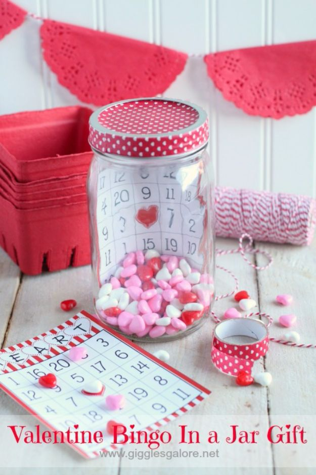 Cheap DIY Valentine's Day Gift Ideas - Valentine Bingo In a Jar Gift - Make These Easy and Inexpensive Crafts and Valentine Projects - Cute Dollar Store Ideas, Tutorials for Making Jars, Gift Boxes, Pink Red and Heart Shaped Decor - Creative Ways To Say I Love You to Your BFF, Boyfriend, Girlfriend, Husband, Wife and Kids http://diyprojectsforteens.com/cheap-diy-valentines-gifts