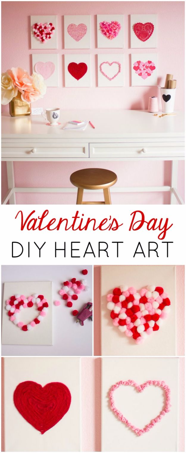 Cheap DIY Valentine's Day Gift Ideas - Valentine's Day DIY Canvas Heart Art - Make These Easy and Inexpensive Crafts and Valentine Projects - Cute Dollar Store Ideas, Tutorials for Making Jars, Gift Boxes, Pink Red and Heart Shaped Decor - Creative Ways To Say I Love You to Your BFF, Boyfriend, Girlfriend, Husband, Wife and Kids http://diyprojectsforteens.com/cheap-diy-valentines-gifts