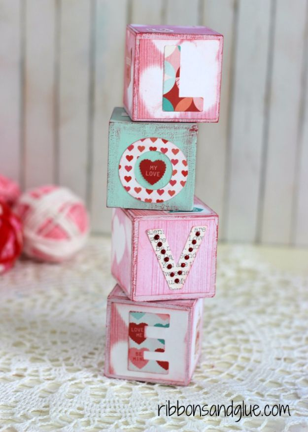 Cheap DIY Valentine's Day Gift Ideas - Valentine's Love Blocks - Make These Easy and Inexpensive Crafts and Valentine Projects - Cute Dollar Store Ideas, Tutorials for Making Jars, Gift Boxes, Pink Red and Heart Shaped Decor - Creative Ways To Say I Love You to Your BFF, Boyfriend, Girlfriend, Husband, Wife and Kids #diyideas #valentines #cheapgifts #valentinesgifts #valentinesday
