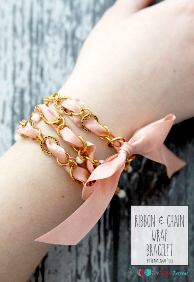 Cheap DIY Gifts and Inexpensive Homemade Christmas Gift Ideas for People on A Budget - Vintage Ribbon and Chain Wrap Bracelet - To Make These Cool Presents Instead of Buying for the Holidays - Easy and Low Cost Gifts fTo Make For Friends and Neighbors - Quick Dollar Store Crafts and Projects for Xmas Gift Giving Parties - Step by Step Tutorials and Instructions http://diyjoy.com/cheap-gifts-to-make-for-friends