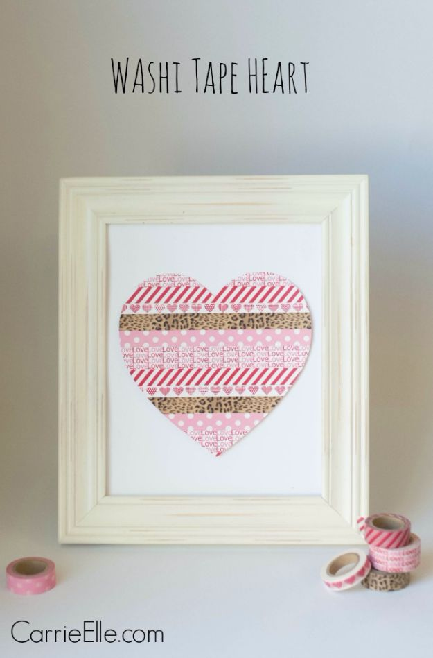 Cheap DIY Valentine's Day Gift Ideas - Washi Tape Heart - Make These Easy and Inexpensive Crafts and Valentine Projects - Cute Dollar Store Ideas, Tutorials for Making Jars, Gift Boxes, Pink Red and Heart Shaped Decor - Creative Ways To Say I Love You to Your BFF, Boyfriend, Girlfriend, Husband, Wife and Kids http://diyprojectsforteens.com/cheap-diy-valentines-gifts